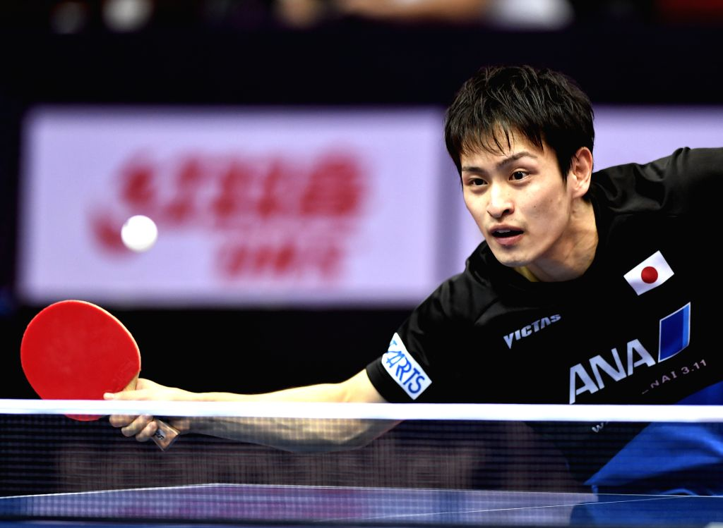 CHENGDU, June 24, 2017 - Yuya Oshima of Japan returns the ball during the men's singles quarterfinal against Dimitrij Ovtcharov of Germany at the ITTF China Open Table Tennis tournament in Chengdu, ...