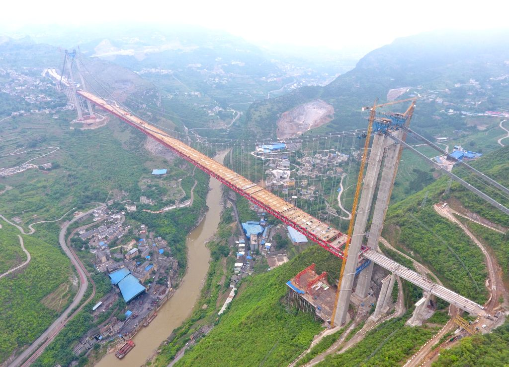 CHENGDU, May 31, 2019 - Aerial photo taken on May 31, 2019 shows the Chishui River Bridge of Gulin-Xishui highway under construction on the border between southwest China's Sichuan Province and ...