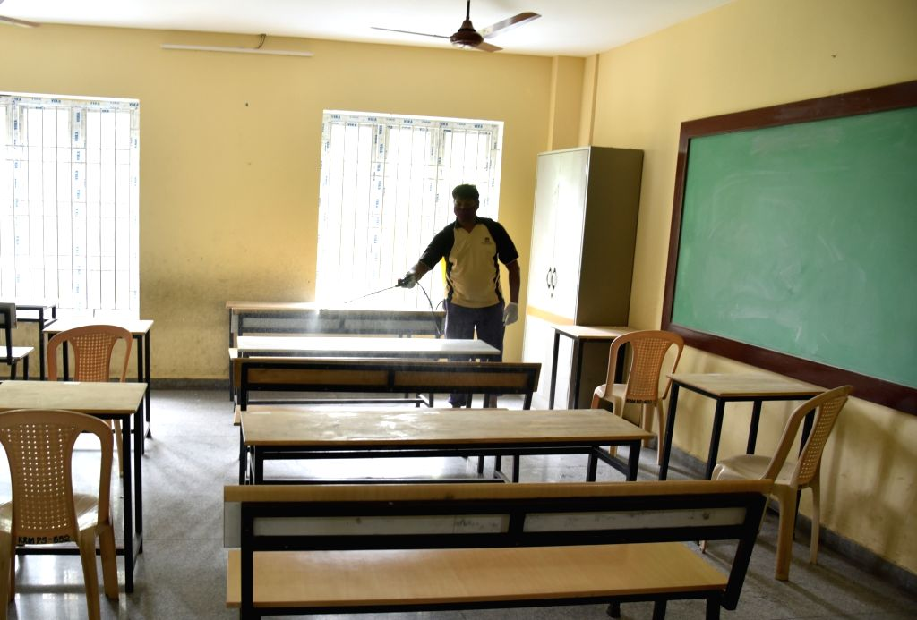 Chennai: A classroom at a school (serving as examination center) being sanitised on the eve of the National-Eligibilty-cum-Entrance Test (NEET) examinations that are scheduled to be conducted across Tamil Nadu from tomorrow, in Chennai on Sep 12, 202