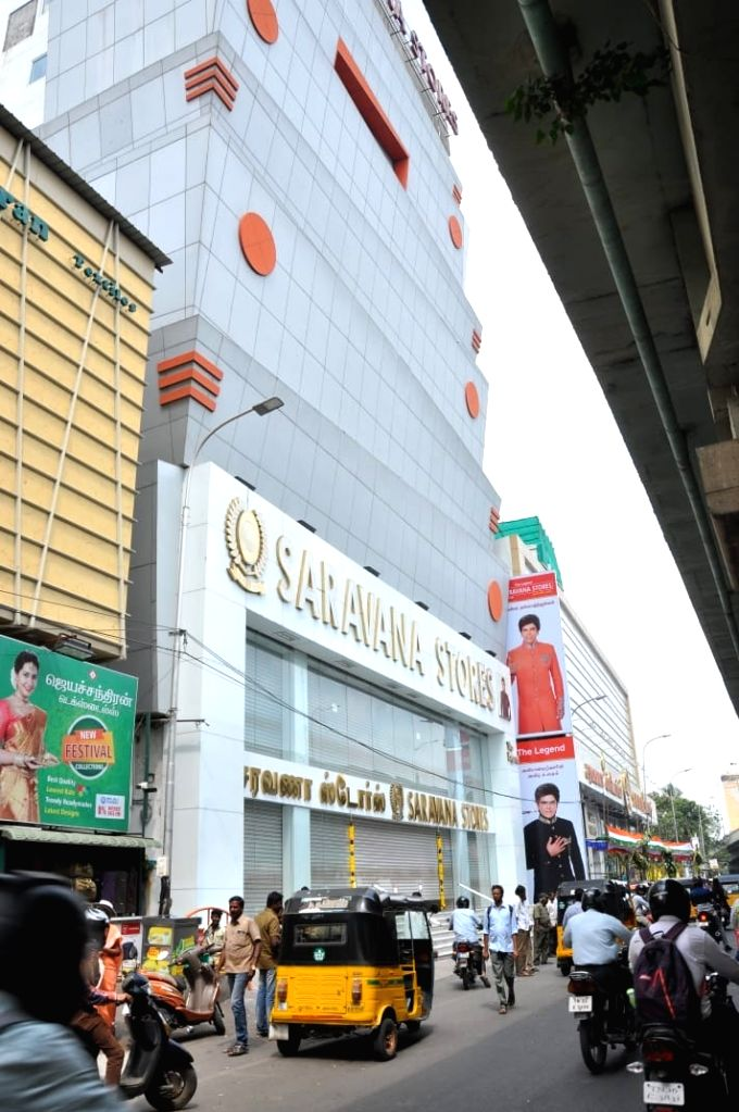 Chennai: A view of a Saravana store where Income Tax (IT) raids are underway in Chennai, on Jan 29, 2019. (Photo: IANS)