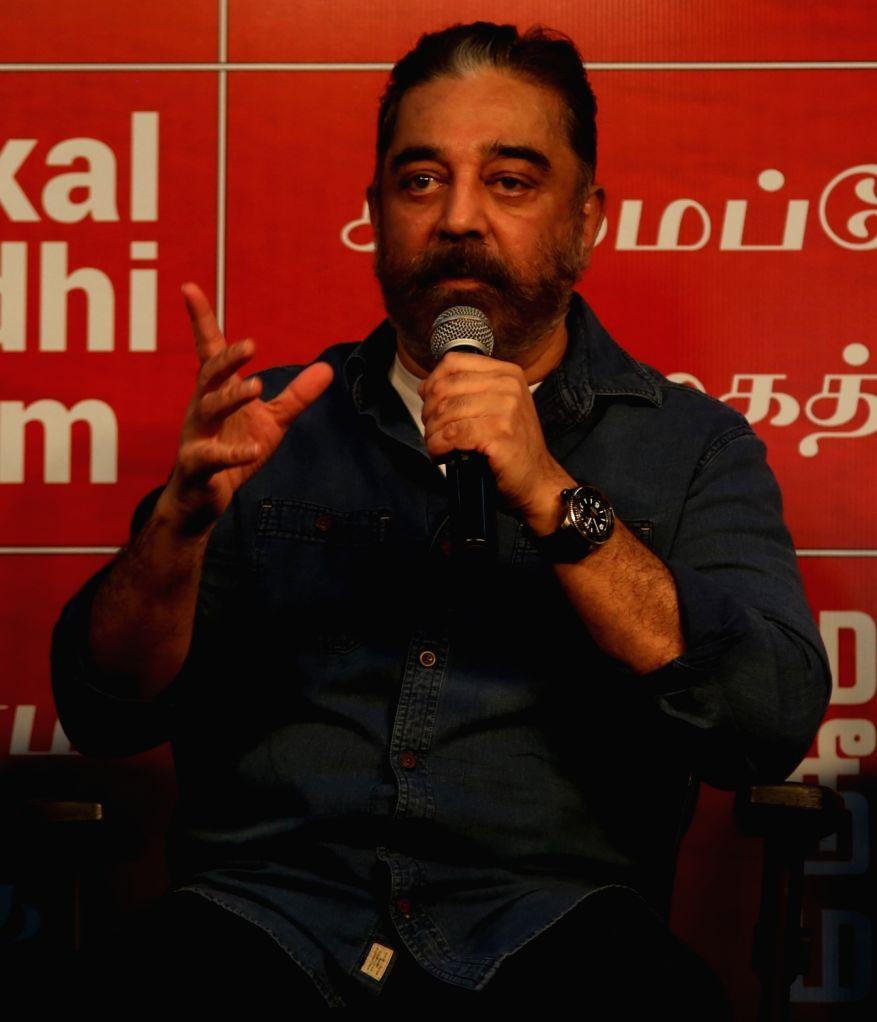 Chennai: Actor and Makkal Neethi Maiyam (MNM) party President Kamal Haasan addresses a press meet in Chennai on Dec 1, 2020. (Photo: IANS)
