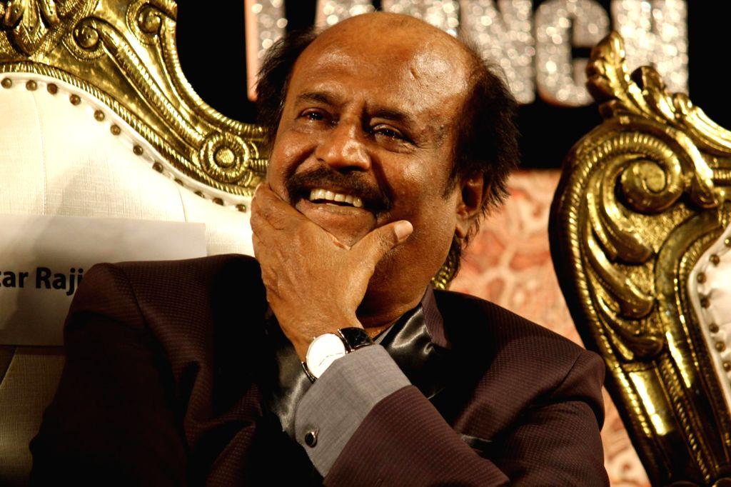 Actor Rajnikant at the audio launch of his upcoming film 'Linga' in Chennai, on Nov 16, 2014. - Rajnikant