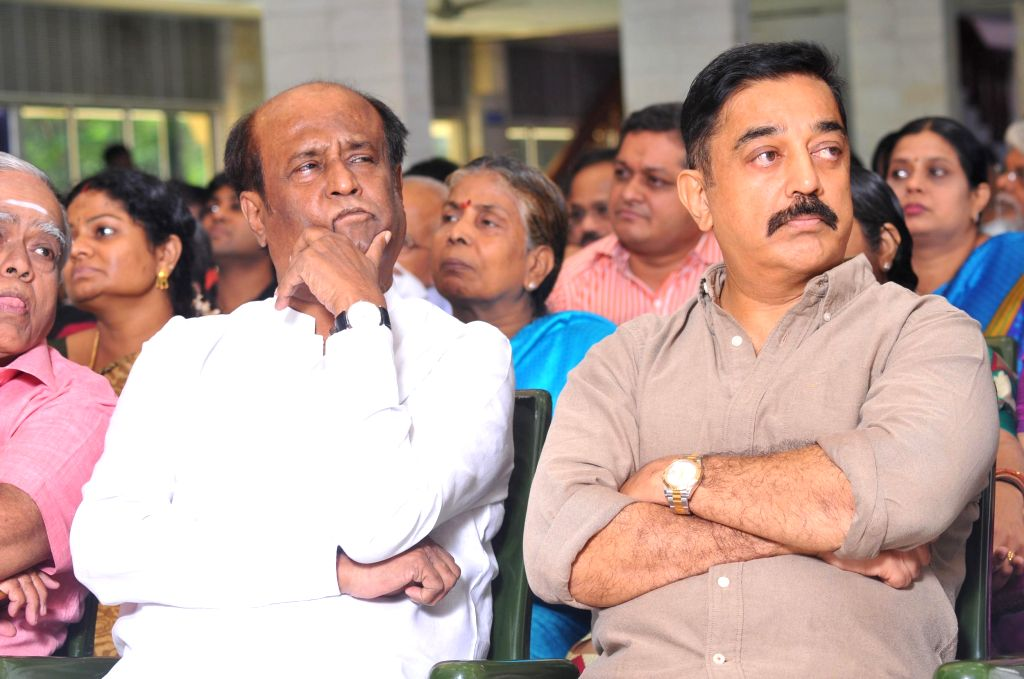 Actors Rajinikanth and Kamal Haasan during a programme organised to perform rituals and rites on the 13th day of Tamil filmmaker K. Balachander's death in Chennai, on Jan 4, 2015.