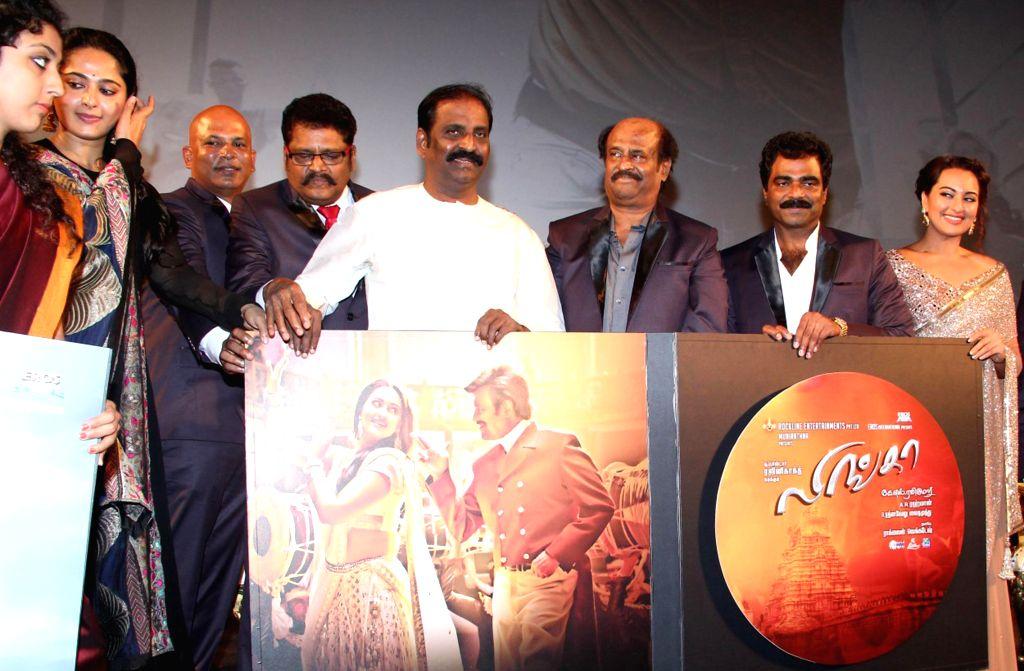 Actors Rajnikant, Sonakshi Sinha, Anushka Shetty and others at the audio launch of their upcoming film 'Linga' in Chennai, on Nov 16, 2014. - Rajnikant, Sonakshi Sinha and Anushka Shetty