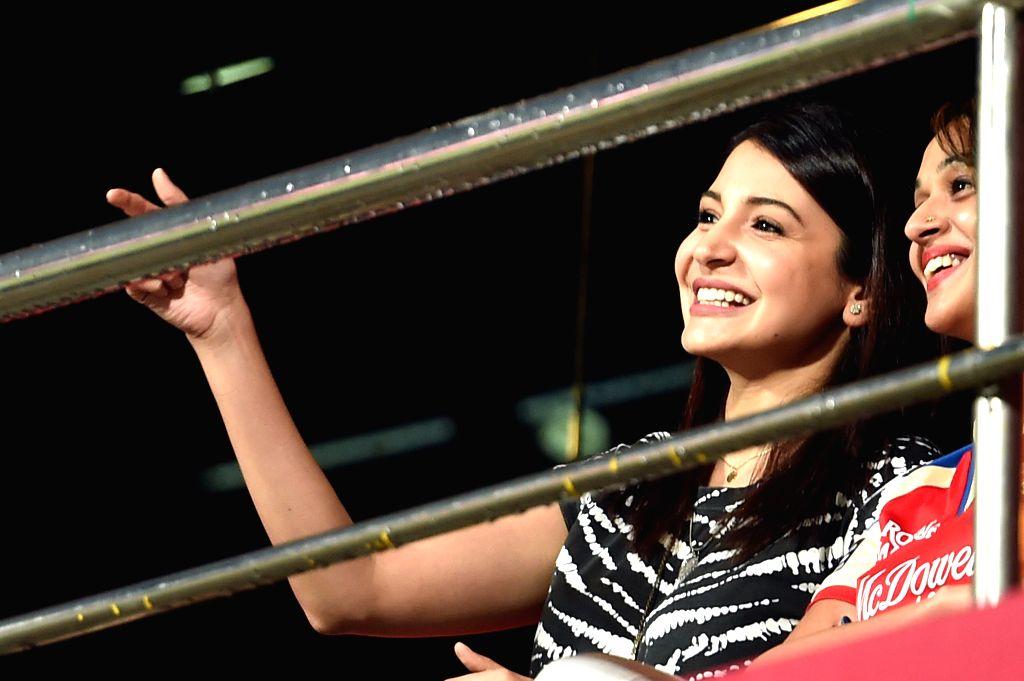 Actress Anushka Sharma during an IPL-2015 match between Royal Challengers Bangalore and Sunrisers Hyderabad at M Chinnaswamy Stadium, in Bengaluru, on April 13, 2015. - Anushka Sharma