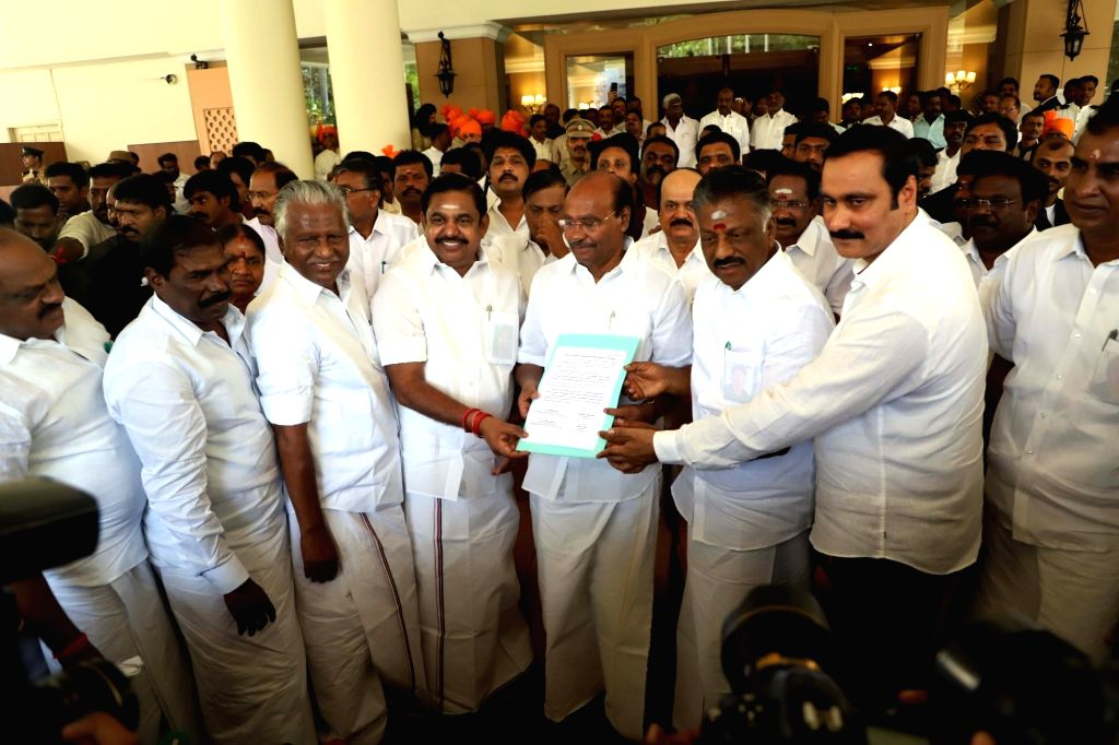 Chennai: AIADMK Coordinator and Deputy Chief Minister O. Panneerselvam and Joint Coordinator and Chief Minister K. Palaniswami with Pattali Makkal Katchi (PMK) founder S. Ramadoss during a discussion on electoral alliance in Chennai, on Feb 19, 2019. - O. Panneerselvam