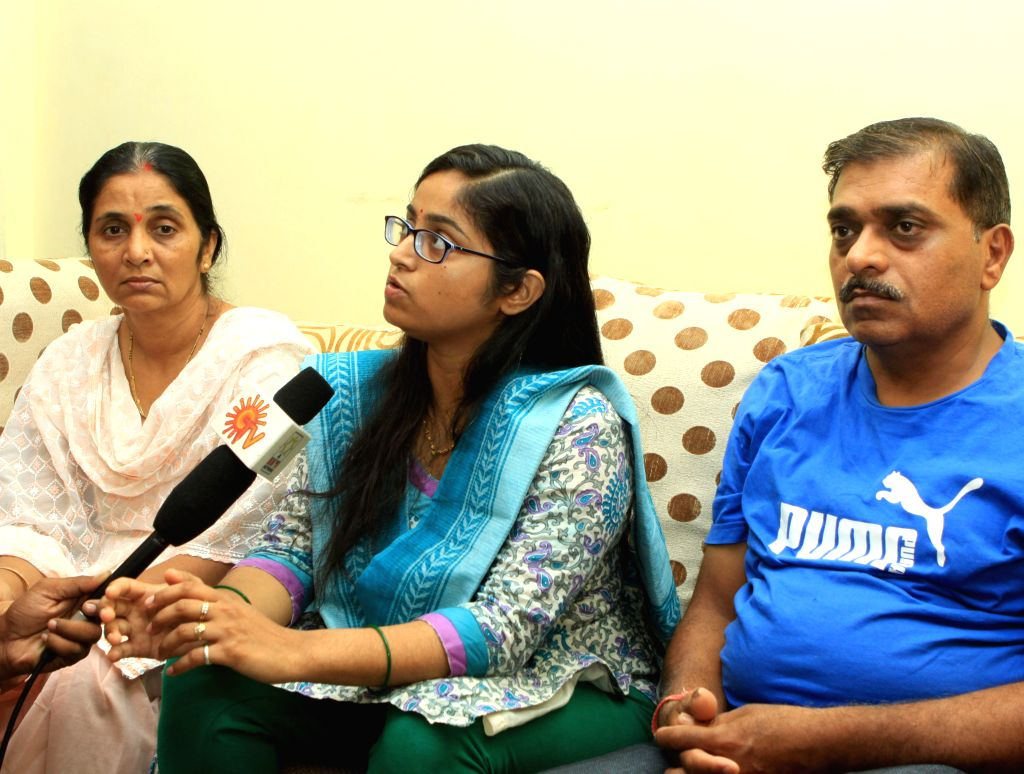 Amruta Soni, the wife of  - missing coast guard Dornier aircraft- Pilot MK Soni talks to journalists at her residence in Chennai, on June 17, 2015.