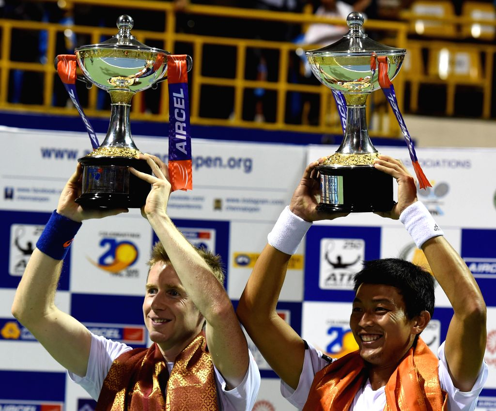 ATP Chennai Open 2015 doubles final winners Yen-Hsun Lu (TPE) and Jonathan Marray (GBR)  celebrate after defeating Leander Paes (India) and Raven Klaasen (South Africa) in Chennai on Jan 11,