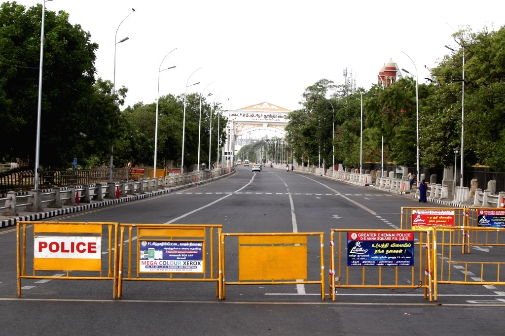 Chennai: Barricades placed at a Chennai street during a 12-day intensified lockdown to prevent the spread of coronavirus in Chennai and three neighbouring districts of Tamil Nadu beginning from today, on June 19, 2020. (Photo: IANS)
