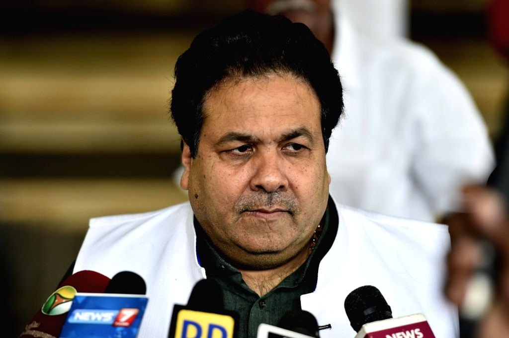 BCCI vice president Rajeev Shukla addresses press after a BCCI working committee meeting in Chennai on Nov 18, 2014.