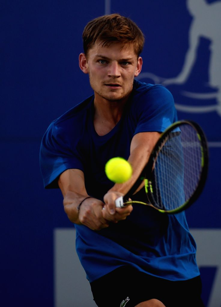 Belgian tennis player David Goffin during a practice session ahead of ATP Chennai Open 2015  in Chennai on Jan 4, 2015.