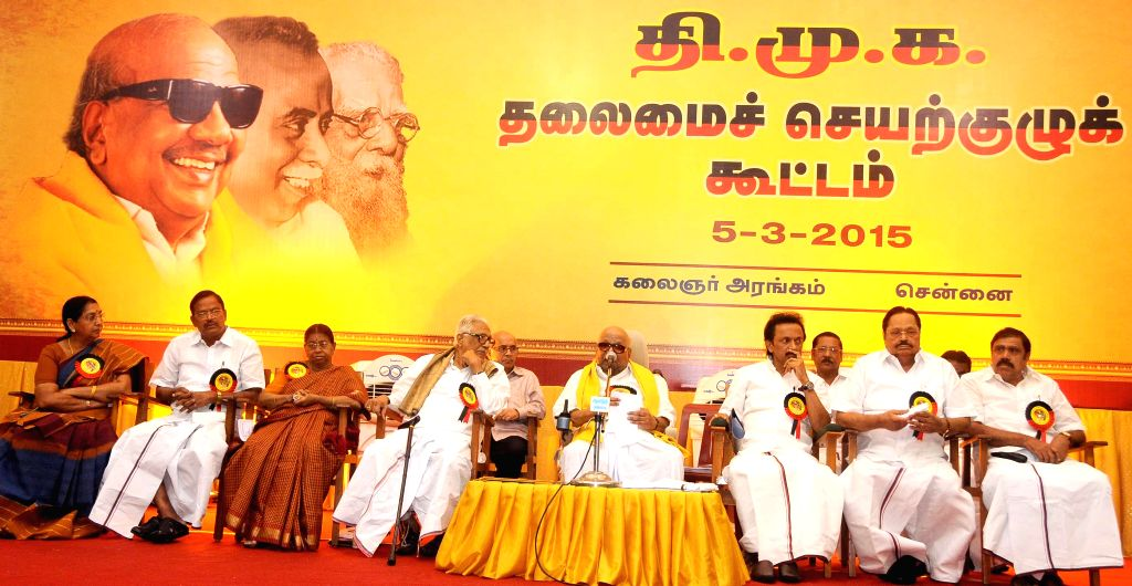 Chennai: DMK chief M Karunanidhi, DMK treasurer M K Stalin and other party leaders during party's executive committee meeting at Kalainger Arangam in Chennai, on March 5, 2015.