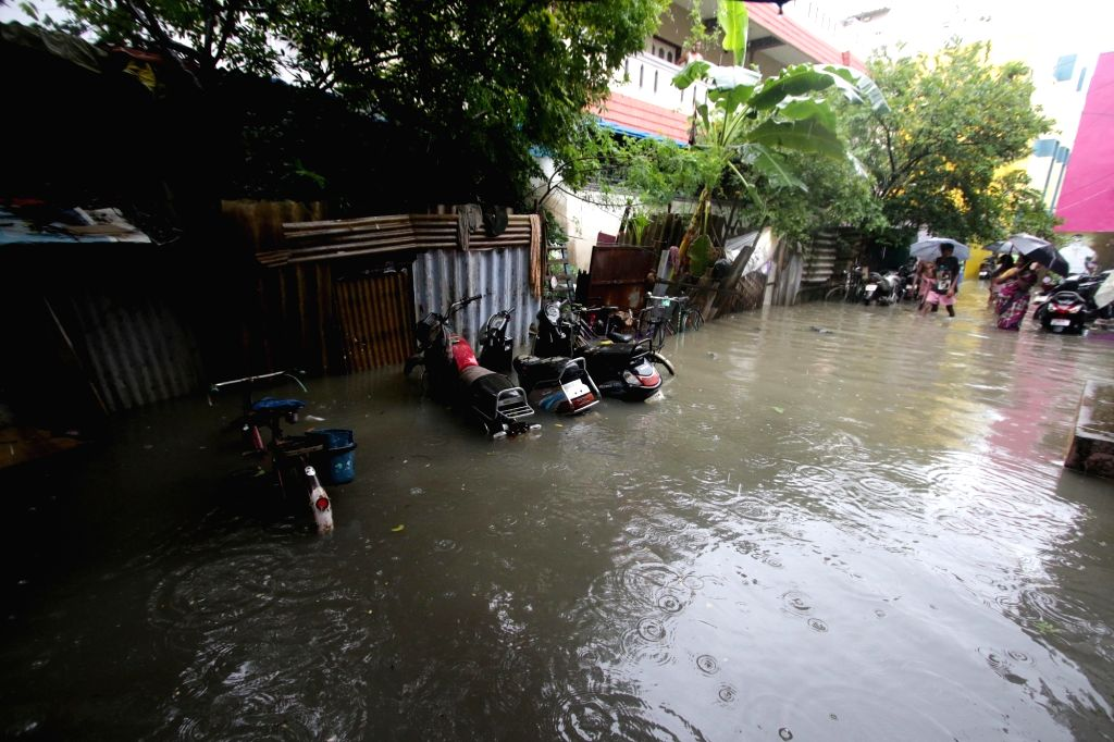 Chennai: Chennai gets flooded due to the effect of cyclonic storm Nivar, on Nov 25, 2020. (Photo: IANS)