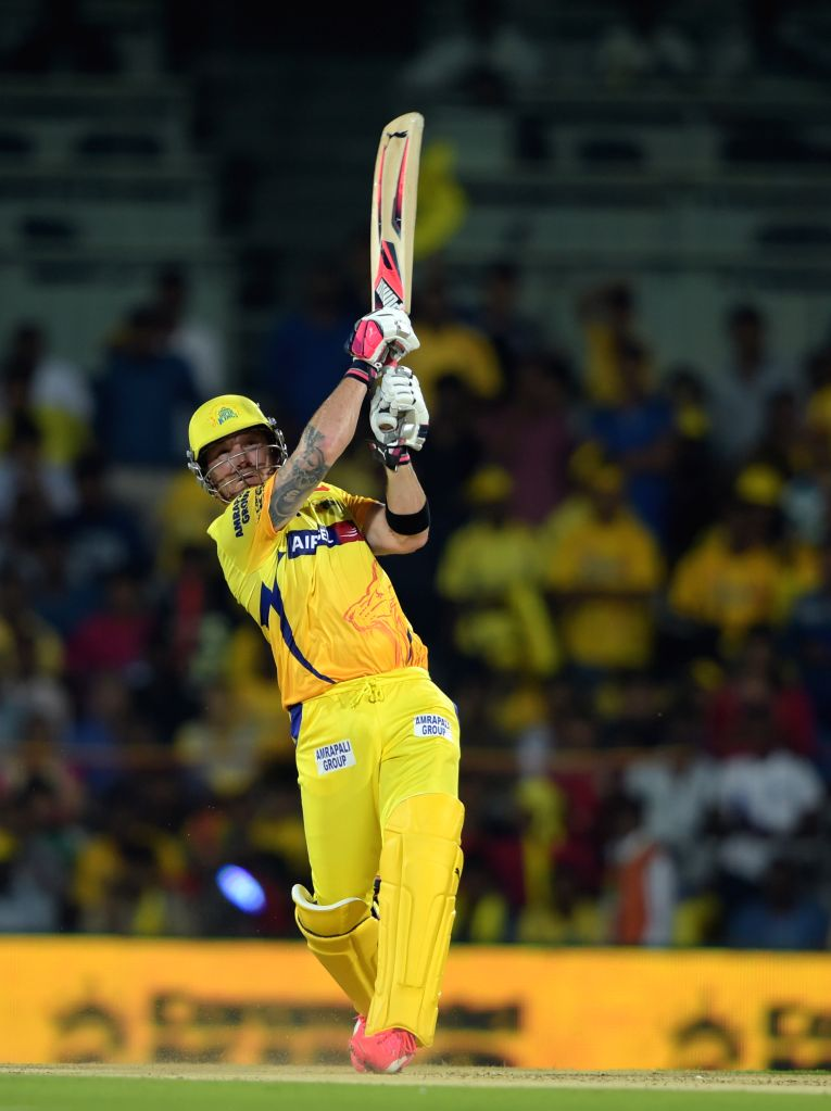 Chennai Super Kings batsman Brendon McCullum in action ​during an IPL-2015 match between Chennai Super Kings and ​Kings XI Punjab at MA Chidambaram Stadium, in Chennai, on April 25, ... - Brendon M