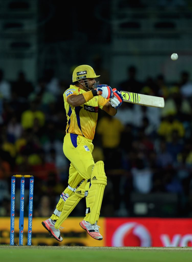 Chennai Super Kings batsman Suresh Raina in action during an IPL - 2015 match between Chennai Super Kings and Kolkata Knight Riders at MA Chidambaram Stadium in Chennai, on April 28, 2015. - Suresh Raina