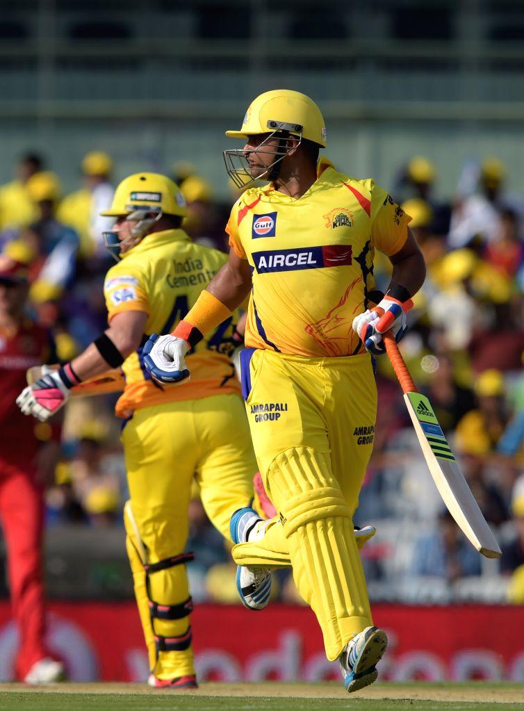 Chennai Super Kings batsman Suresh Raina in action during an IPL 2015 match between Chennai Super Kings and Royal Challengers Bangalore at M. A. Chidambaram Stadium in Chennai on May 4, ... - Suresh Raina