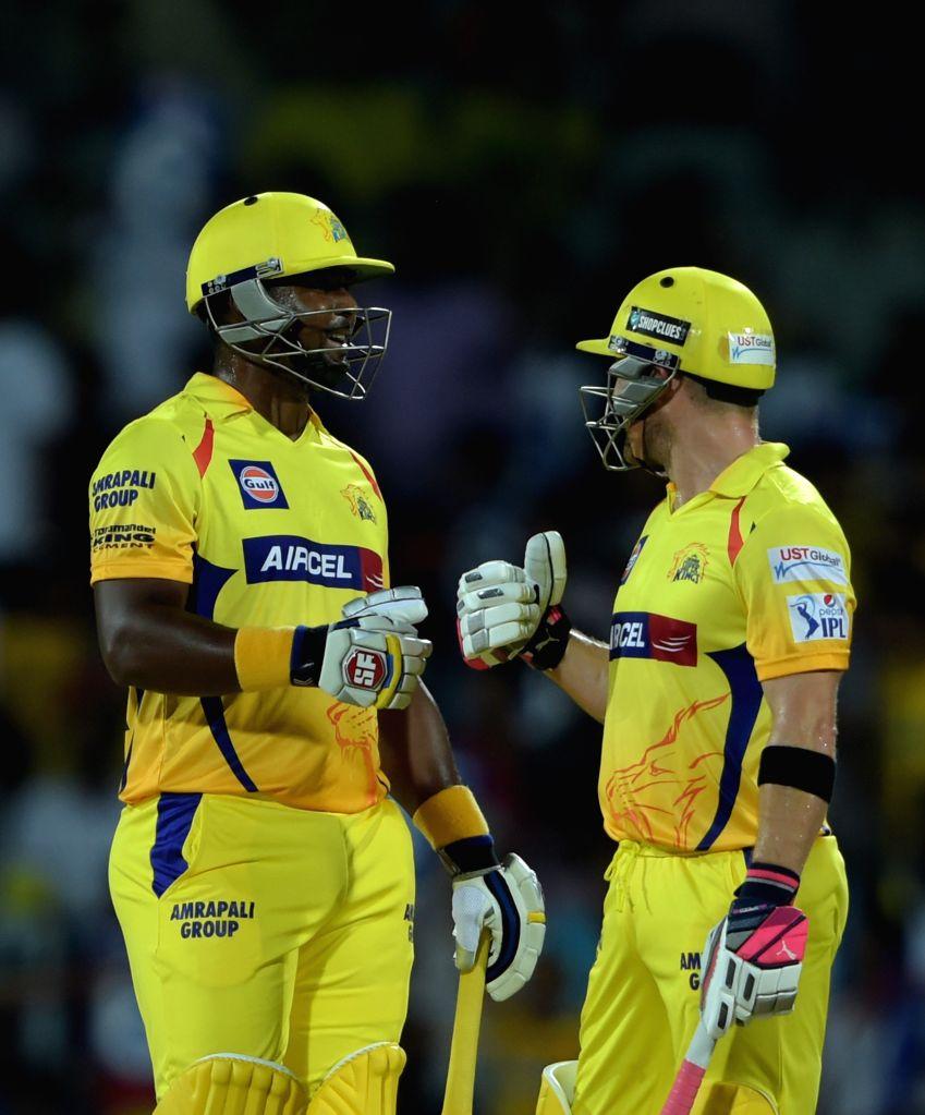 Chennai Super Kings batsmen Dwayne Smith and Brendon McCullum during an IPL - 2015 match between Chennai Super Kings and Kolkata Knight Riders at MA Chidambaram Stadium in Chennai, on April ...
