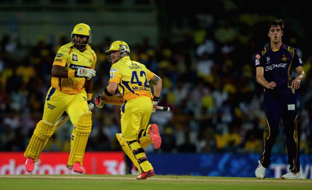 Chennai Super Kings batsmen Dwayne Smith and Brendon McCullum in action during an IPL - 2015 match between Chennai Super Kings and Kolkata Knight Riders at MA Chidambaram Stadium in Chennai, ...