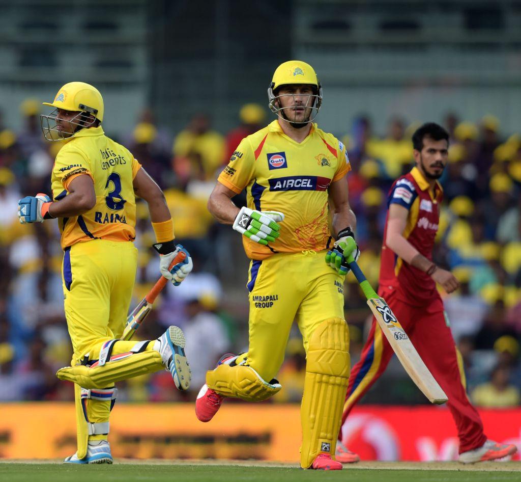 Chennai Super Kings batsmen Suresh Raina and Francois du Plessis in action during an IPL 2015 match between Chennai Super Kings and Royal Challengers Bangalore at M. A. Chidambaram Stadium ...