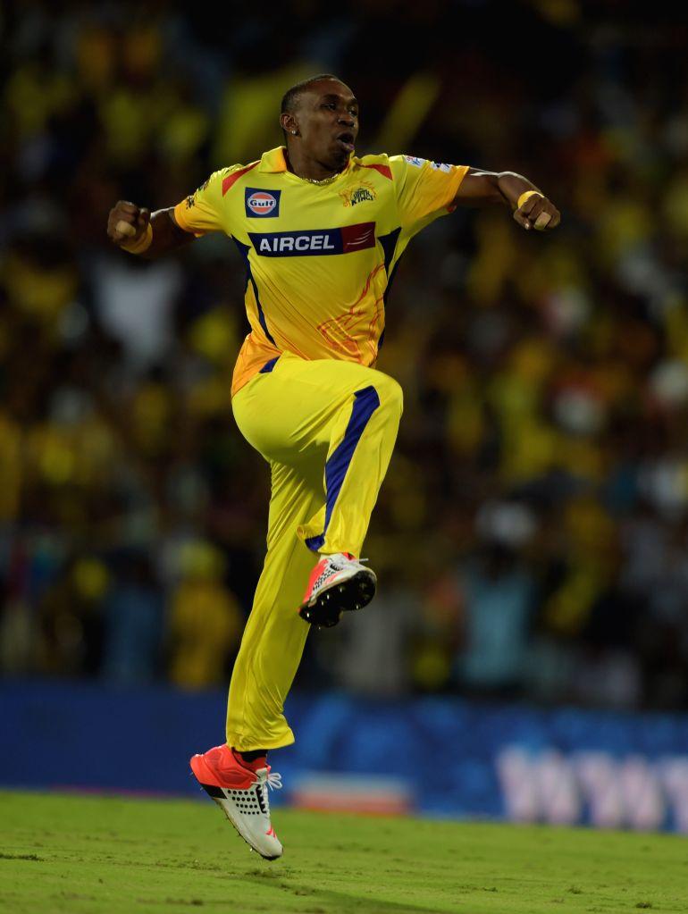 Chennai Super Kings bowler Dwayne Bravo celebrates fall of a wicket during an IPL - 2015 match between Chennai Super Kings and Kolkata Knight Riders at MA Chidambaram Stadium in Chennai, on ... - Dwayne Bravo