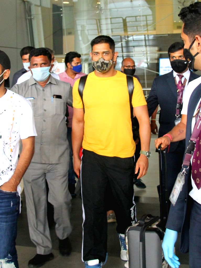 Chennai: Chennai Super Kings captain MS Dhoni arrives in Chennai for a one-week training camp ahead of the 2020 edition of the Indian Premier League, on Aug 14, 2020. Dhoni has tested negative for COVID-19 after he underwent the mandatory test before - MS Dhoni and Monu Kumar Singh