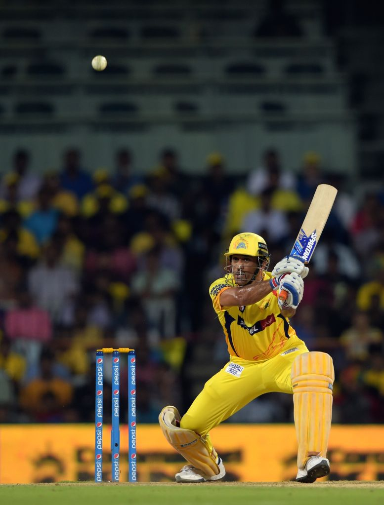 Chennai Super Kings captain MS Dhoni in action ​during an IPL-2015 match between Chennai Super Kings and ​Kings XI Punjab at MA Chidambaram Stadium, in Chennai, on April 25, 2015. - MS Dhoni