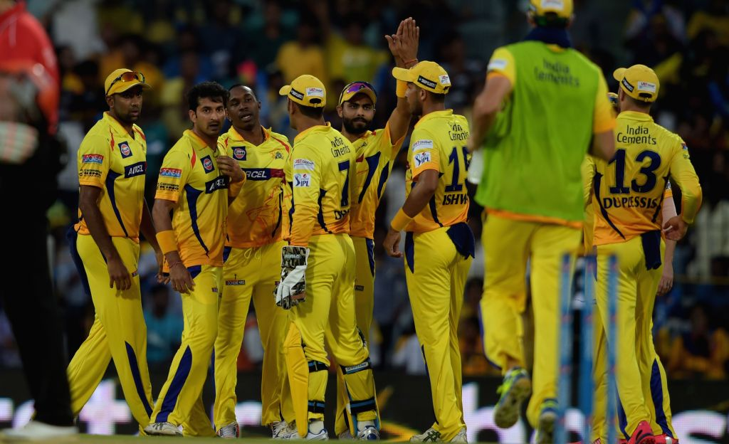 Chennai Super Kings celebrate fall of a wicket during an IPL-2015 match between Chennai Super Kings (CSK) and Sunrisers Hyderabad (SRH) at MA Chidambaram Stadium, in Chennai, on April 11, ...
