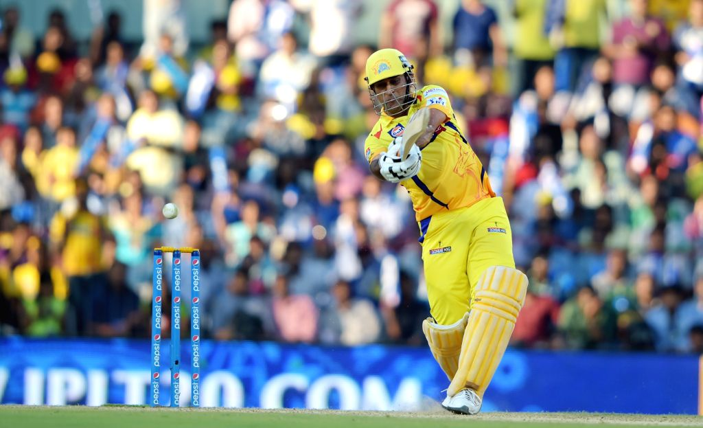 Chennai Super Kings (CSK) captain MS Dhoni in action during an IPL-2015 match between Chennai Super Kings (CSK) and Sunrisers Hyderabad (SRH) at MA Chidambaram Stadium, in Chennai, on April ... - MS Dhoni