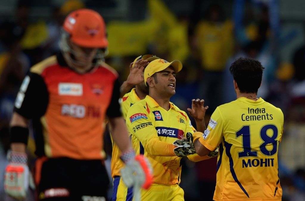 Chennai Super Kings (CSK) captain MS Dhoni celebrate fall of a wicket during an IPL-2015 match between Chennai Super Kings (CSK) and Sunrisers Hyderabad (SRH) at MA Chidambaram Stadium, in ... - MS Dhoni