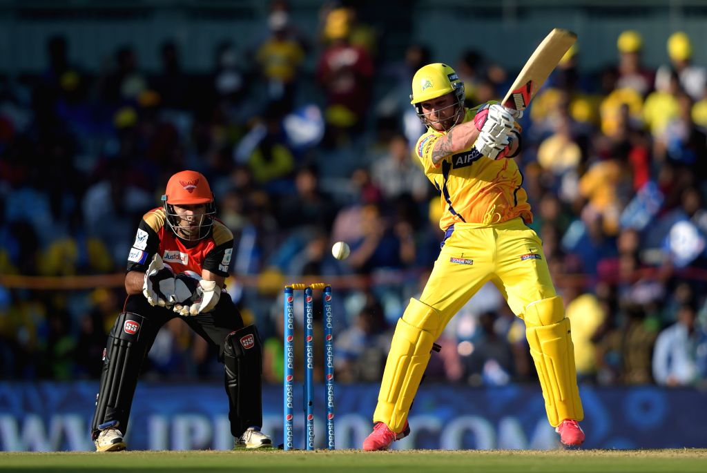 Chennai Super Kings (CSK) player Brendon McCullum in action during an IPL-2015 match between Chennai Super Kings (CSK) and Sunrisers Hyderabad (SRH) at MA Chidambaram Stadium, in Chennai, on ...