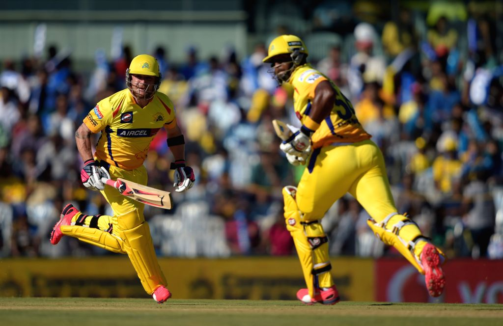 Chennai Super Kings (CSK) players Brendon McCullum and Dwayne Smith in action during an IPL-2015 match between Chennai Super Kings (CSK) and Sunrisers Hyderabad (SRH) at MA Chidambaram ...