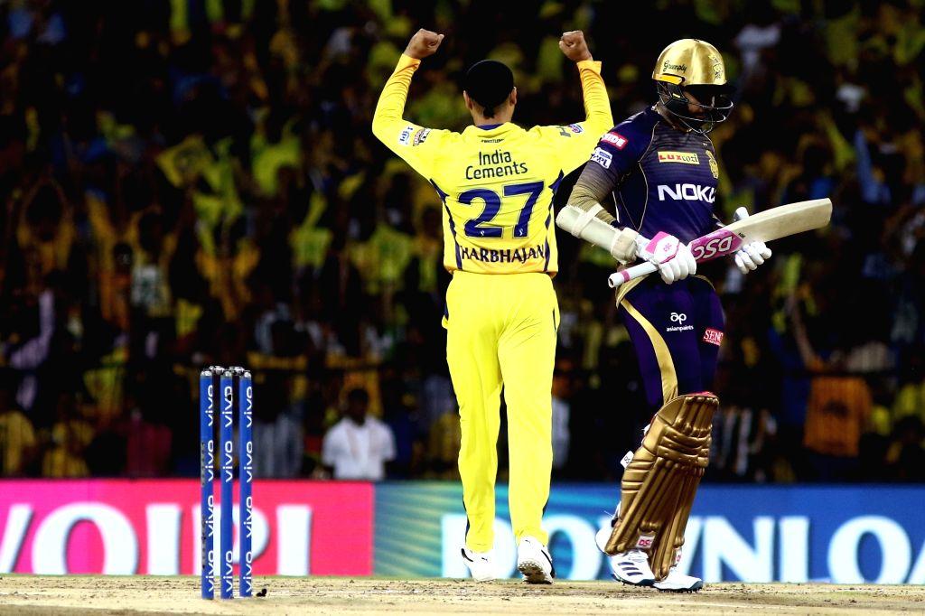 Chennai: Chennai Super Kings' Harbhajan Singh celebrates fall of Sunil Narine's wicket during the 23rd match of IPL 2019 between Kolkata Knight Riders and Chennai Super Kings at MA Chidambaram Stadium, in Chennai on April 9, 2019. (Photo: IANS) - Harbhajan Singh