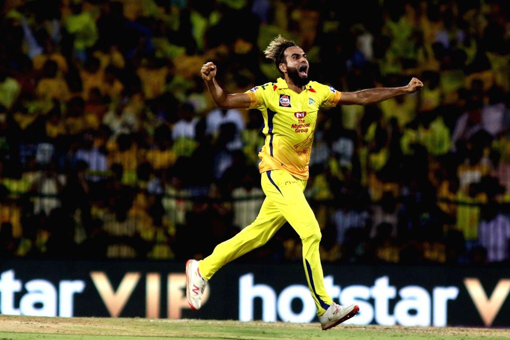 Chennai: Chennai Super Kings' Imran Tahir celebrates fall of Dinesh Karthik's wicket during the 23rd match of IPL 2019 between Kolkata Knight Riders and Chennai Super Kings at MA Chidambaram Stadium, in Chennai on April 9, 2019. (Photo: IANS)