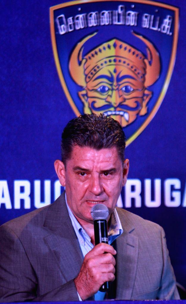 Chennai: Chennaiyin FC head coach John Gregory addresses during a press conference in Chennai on July 21, 2017. (Photo: IANS)