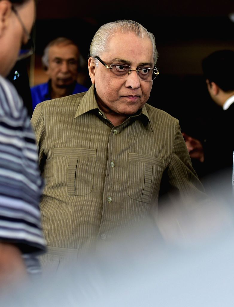 Cricket Association of Bengal (CAB) president Jagmohan Dalmiya comes out after BCCI working committee meeting in Chennai, on Feb 8, 2015.