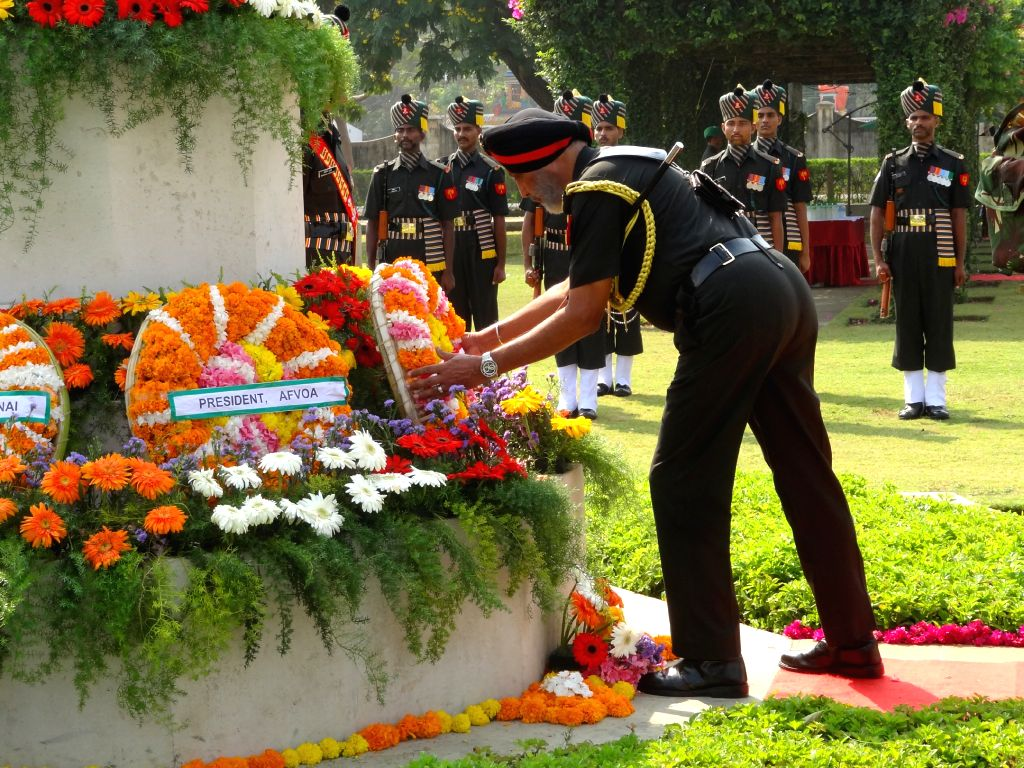 Dakshin Bharat Area General Officer Commanding Lieutenant General Jagbir Singh lays wreath at Madras War Cemetery on the occasion of Centenary Celebrations of World War-I in Chennai on March ...