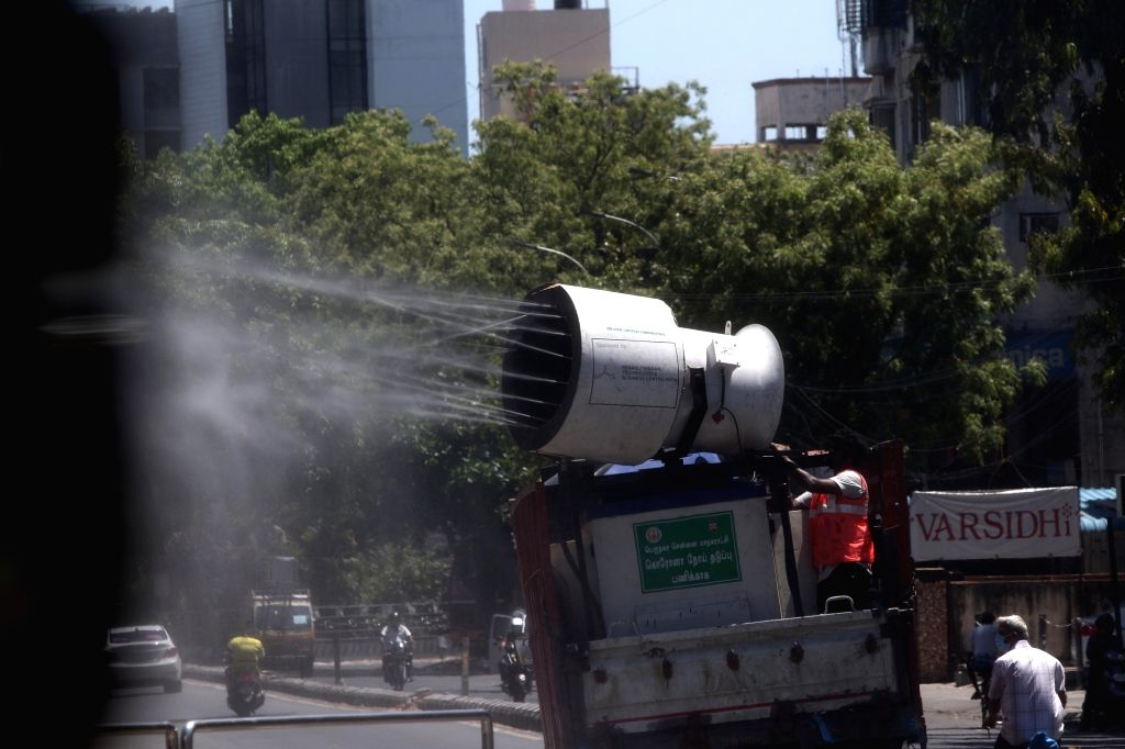 Chennai: Disinfectant being sprayed as part of a sanitsation drive being conducted across Chennai during the extended nationwide lockdown imposed to mitigate the spread of coronavirus; on Apr 20, 2020. (Photo: IANS)