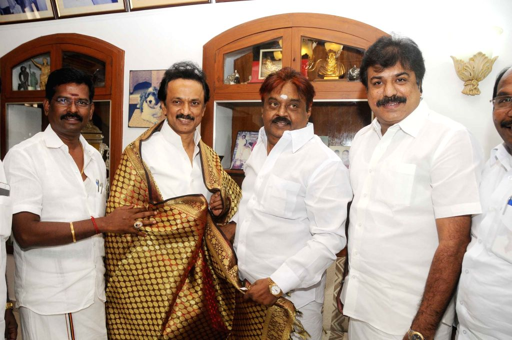 DMDK chief Vijaykanth and DMK treasurer M K Stalin during a meeting in Chennai, on April 26, 2015.