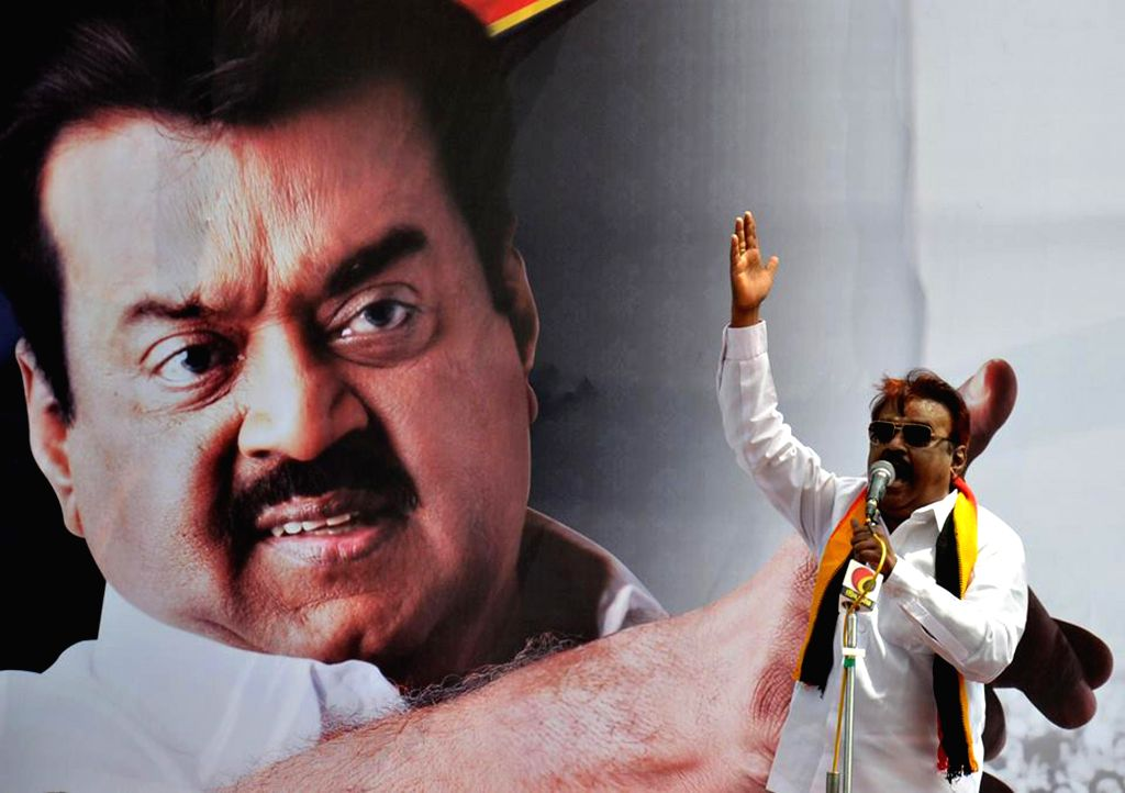 Chennai: DMDK president Vijayakanth during a demonstration against Tamil Nadu government's decision to raise the prices of milk in Chennai, on Oct.28, 2014. (Photo: IANS)