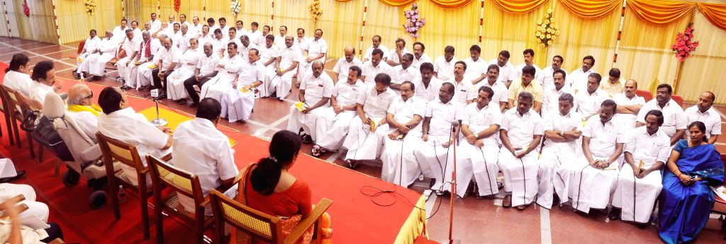 DMK chief M Karunanidhi addresses during a DMK`s district secretaries meeting in Chennai on May 25, 2015. Also seen DMK treasurer M K Stalin and others party leaders.