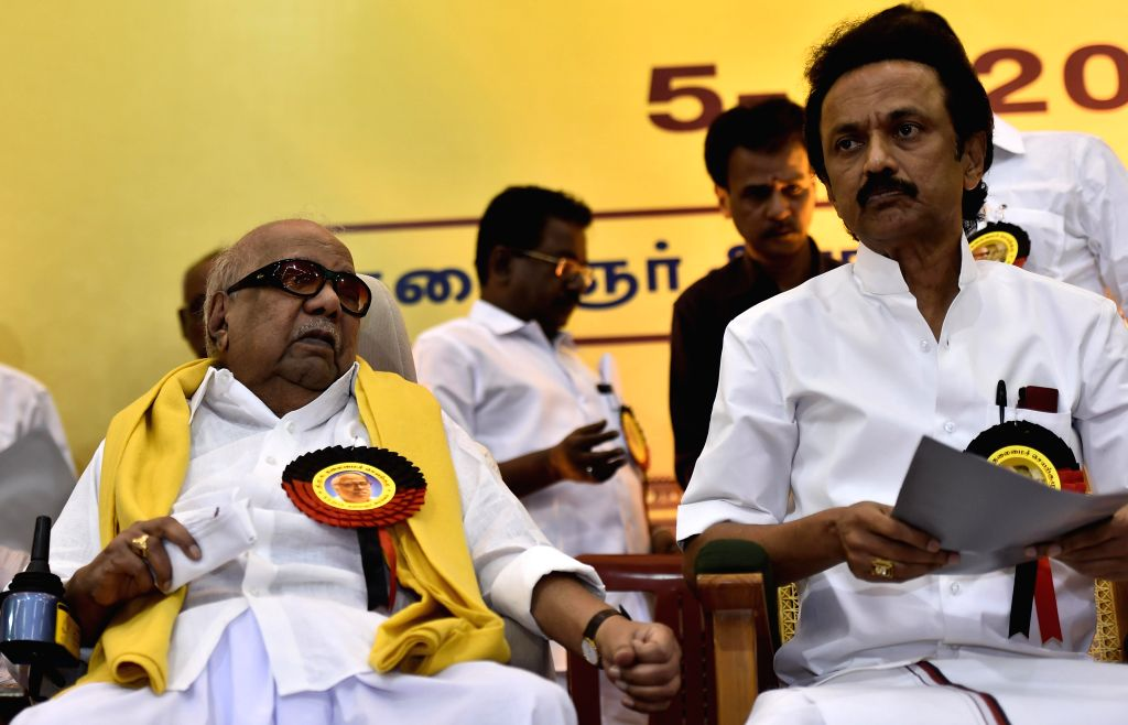 DMK chief M Karunanidhi and DMK treasurer M K Stalin during party's executive committee meeting at Kalainger Arangam in Chennai, on March 5, 2015.