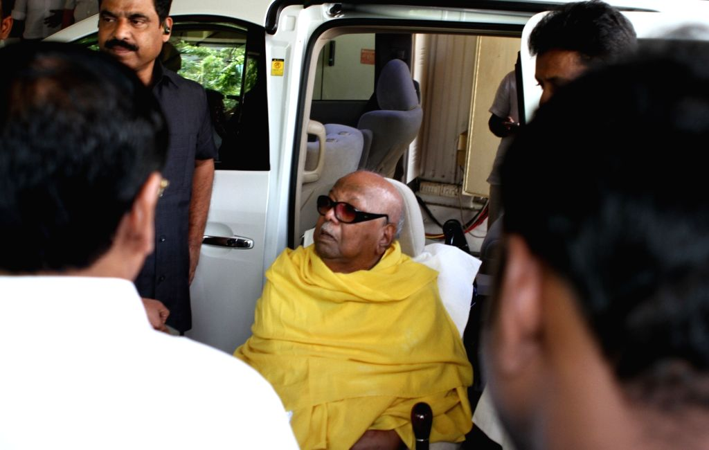: Chennai: DMK chief M Karunanidhi who has been admitted to Chennai's Kauvery hospital for a minor procedure - change of (Percutaneous endoscopic gastronomy) PEG tube being discharged after ...