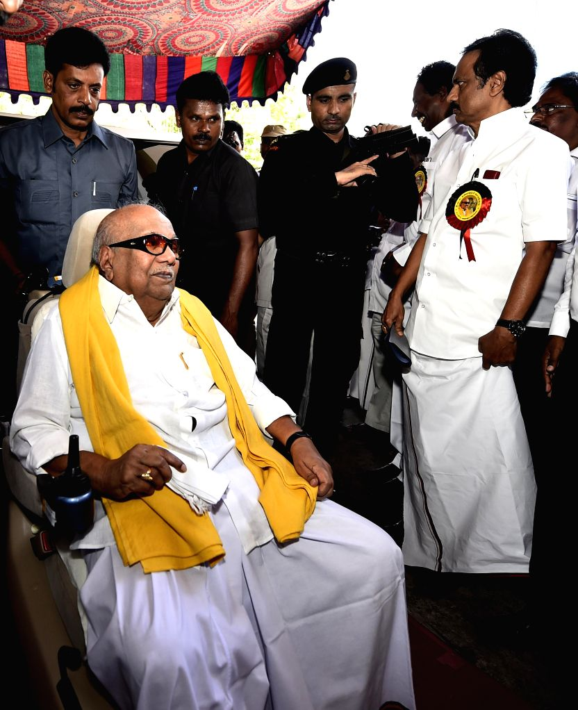 DMK leader Kanimozhi Karunanidhi arrives to attend party's executive committee meeting at Kalainger Arangam in Chennai, on March 5, 2015.