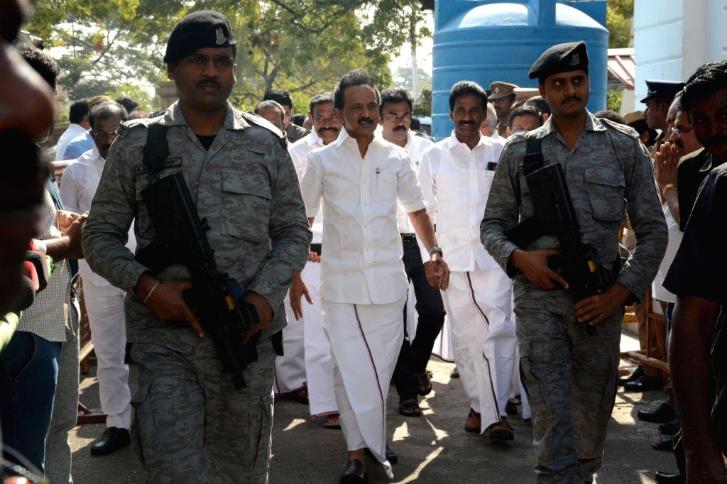 Chennai: DMK President M.K. Stalin arrives at the Tamil Nadu Assembly, in Chennai on Feb 8, 2019. (Photo: IANS)