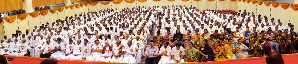 DMK workers during party's executive committee meeting at Kalainger Arangam in Chennai, on March 5, 2015.
