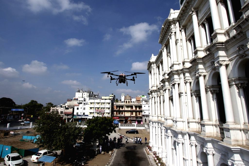 Chennai: Drones being used to spray disinfectants across Chennai on Day 2 of the 21-day nationwide lockdown imposed by the Narendra Modi government over the coronavirus pandemic; on March 26, 2020. (Photo: IANS) - Narendra Modi