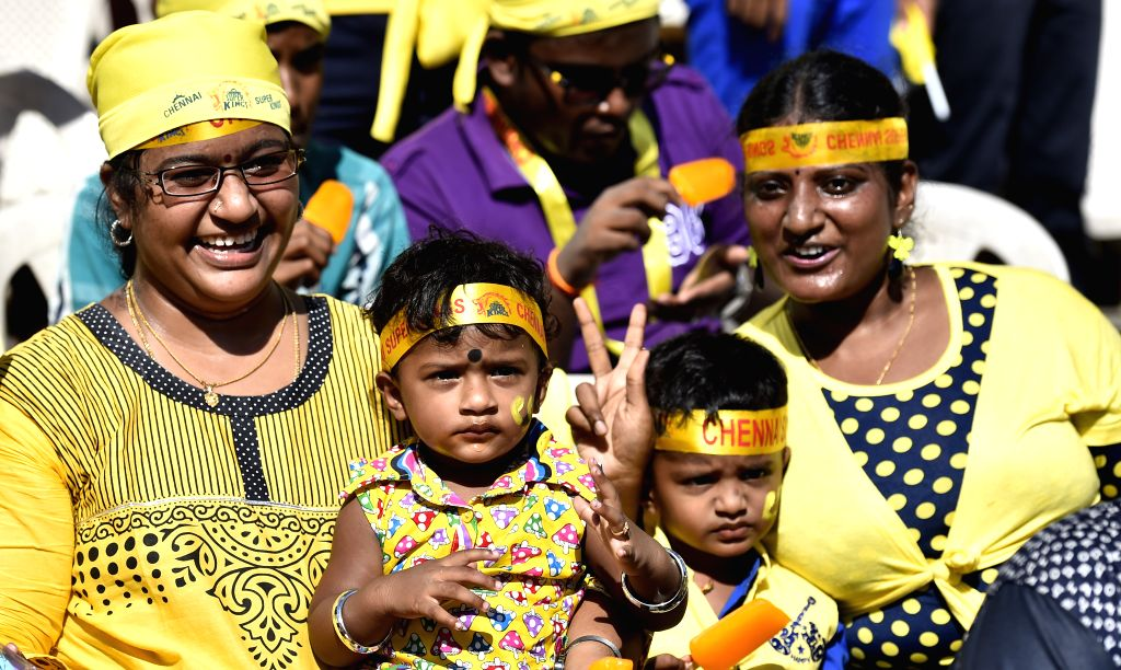 Fans cheer during an IPL-2015 match between Chennai Super Kings (CSK) and Sunrisers Hyderabad (SRH) at MA Chidambaram Stadium, in Chennai, on April 11, 2015.