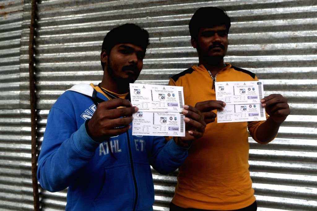 Chennai: Fans shows their tickets of 1st ODI match between India and West Indies on 15th December, at M. A. Chidambaram Stadium in Chennai on Dec 8, 2019.
