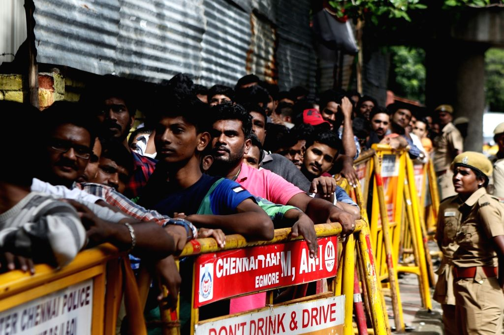 Chennai: Fans throng M. A. Chidambaram Stadium in Chennai to buy tickets of 1st ODI match between India and West Indies on 15th December, in Chennai on Dec 8, 2019.