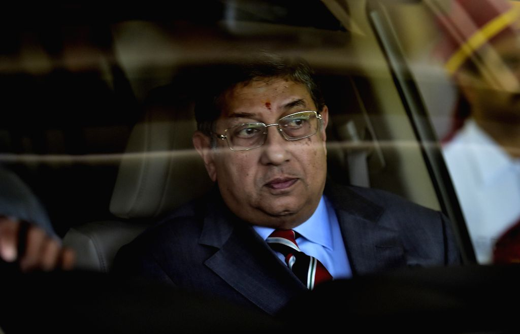 ICC chairman N Srinivasan comes out after BCCI working committee meeting in Chennai, on Feb 8, 2015.